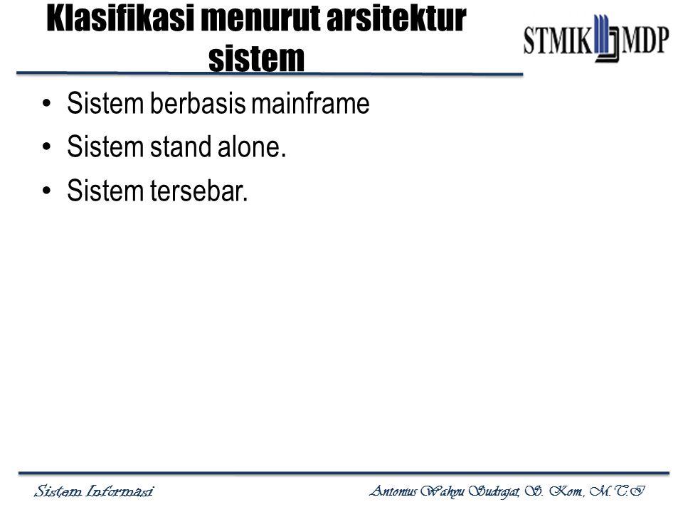 Klasifikasi menurut arsitektur sistem
