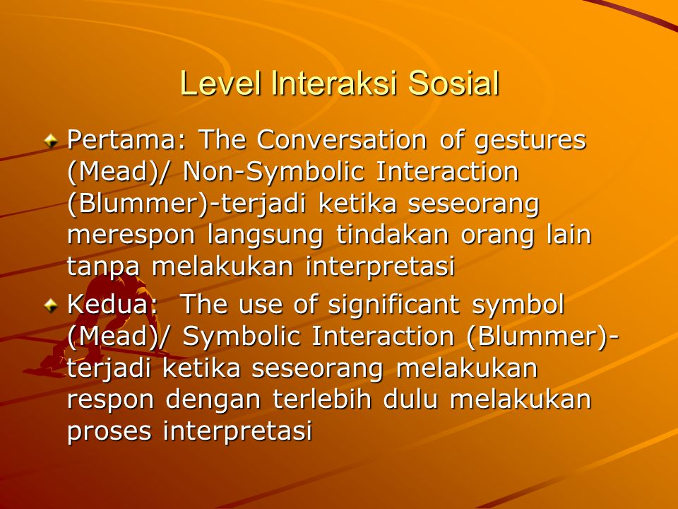 Level Interaksi Sosial