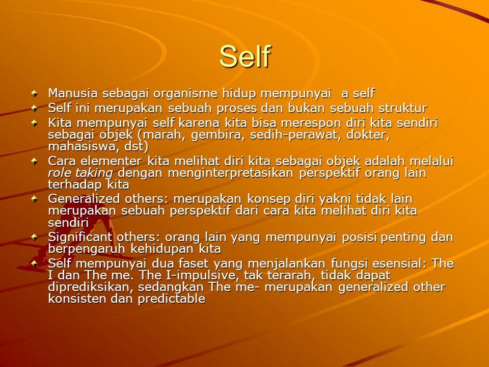 Self Manusia sebagai organisme hidup mempunyai a self