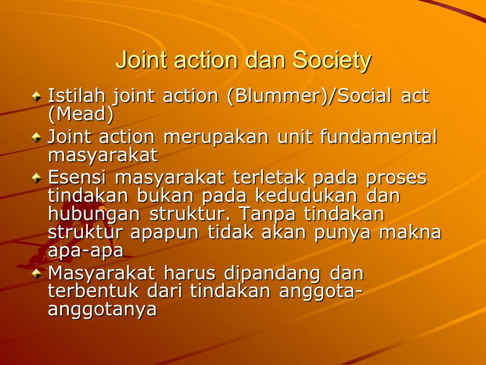 Joint action dan Society