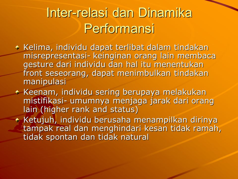 Inter-relasi dan Dinamika Performansi