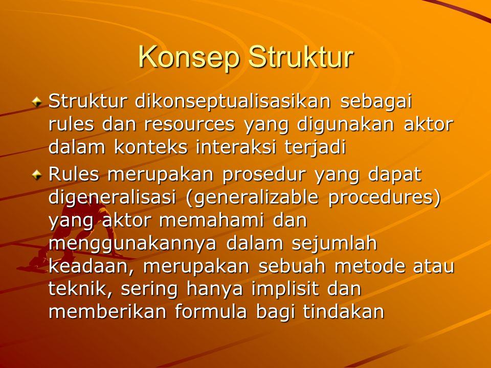 Konsep Struktur Struktur dikonseptualisasikan sebagai rules dan resources yang digunakan aktor dalam konteks interaksi terjadi.