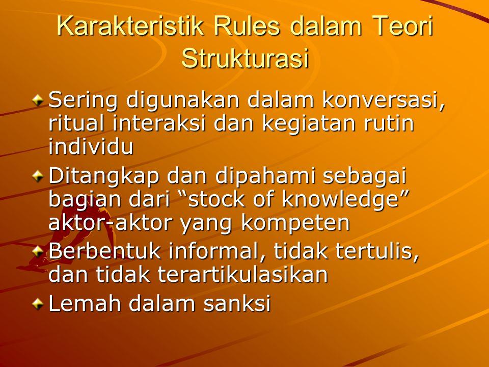 Karakteristik Rules dalam Teori Strukturasi