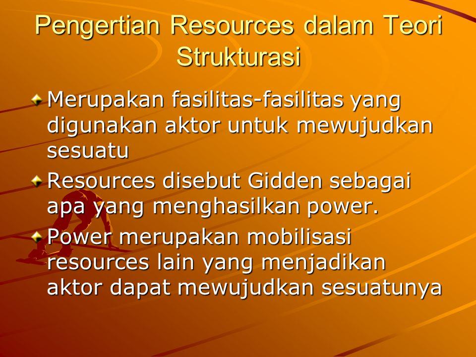 Pengertian Resources dalam Teori Strukturasi