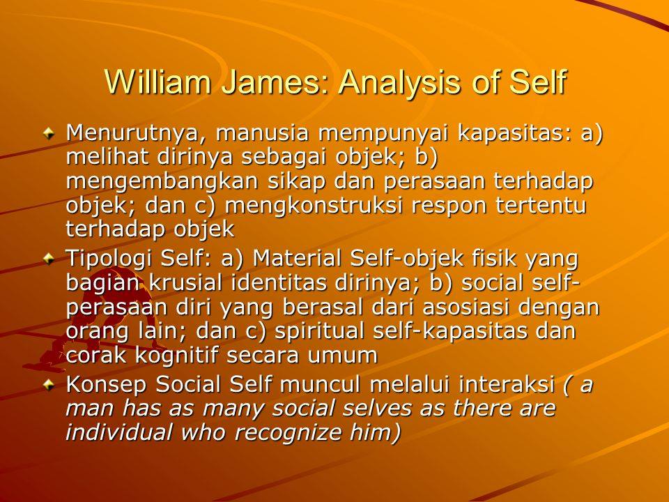William James: Analysis of Self