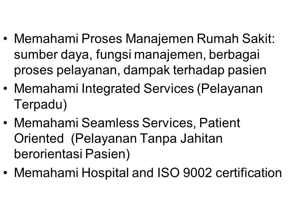 Memahami Proses Manajemen Rumah Sakit: sumber daya, fungsi manajemen, berbagai proses pelayanan, dampak terhadap pasien