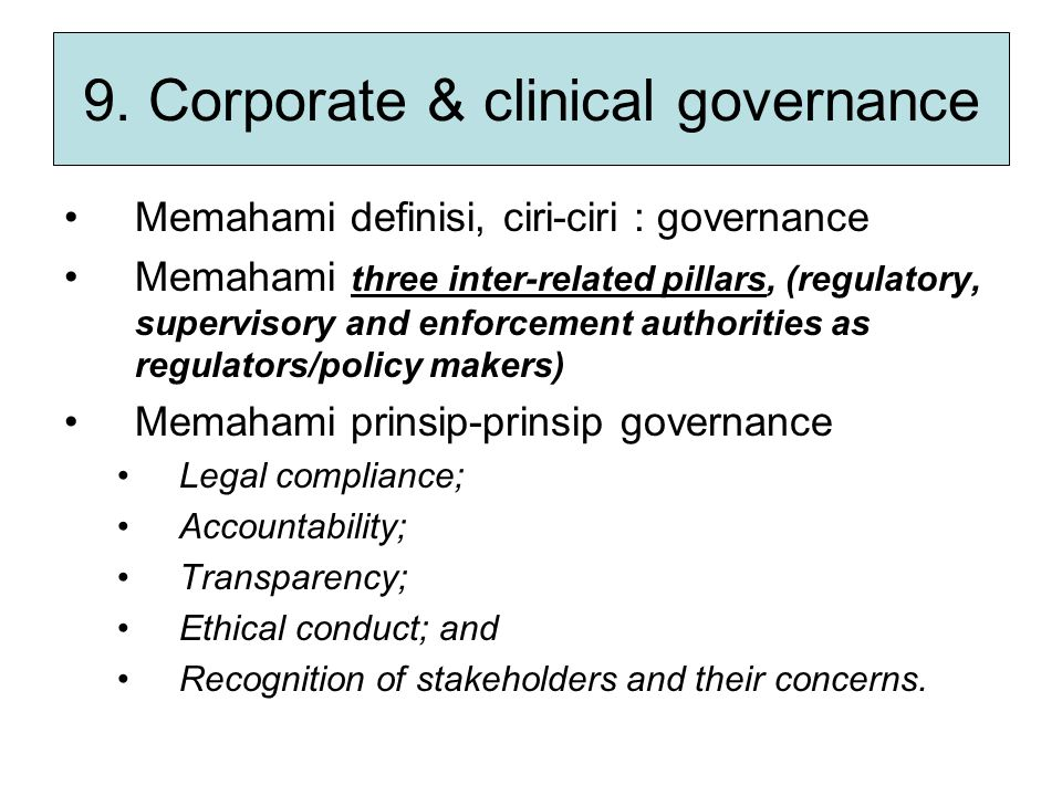 9. Corporate & clinical governance