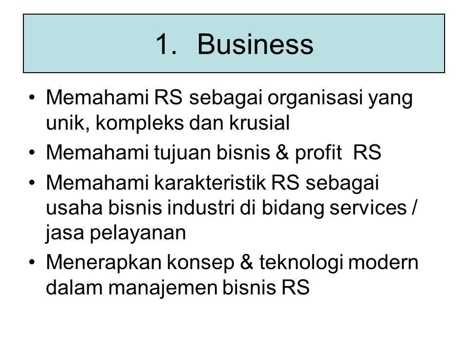 Business Memahami RS sebagai organisasi yang unik, kompleks dan krusial. Memahami tujuan bisnis & profit RS.