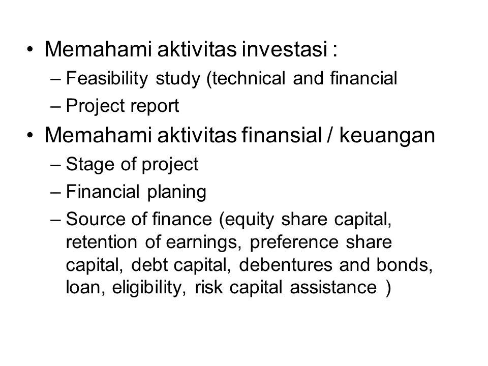 Memahami aktivitas investasi :