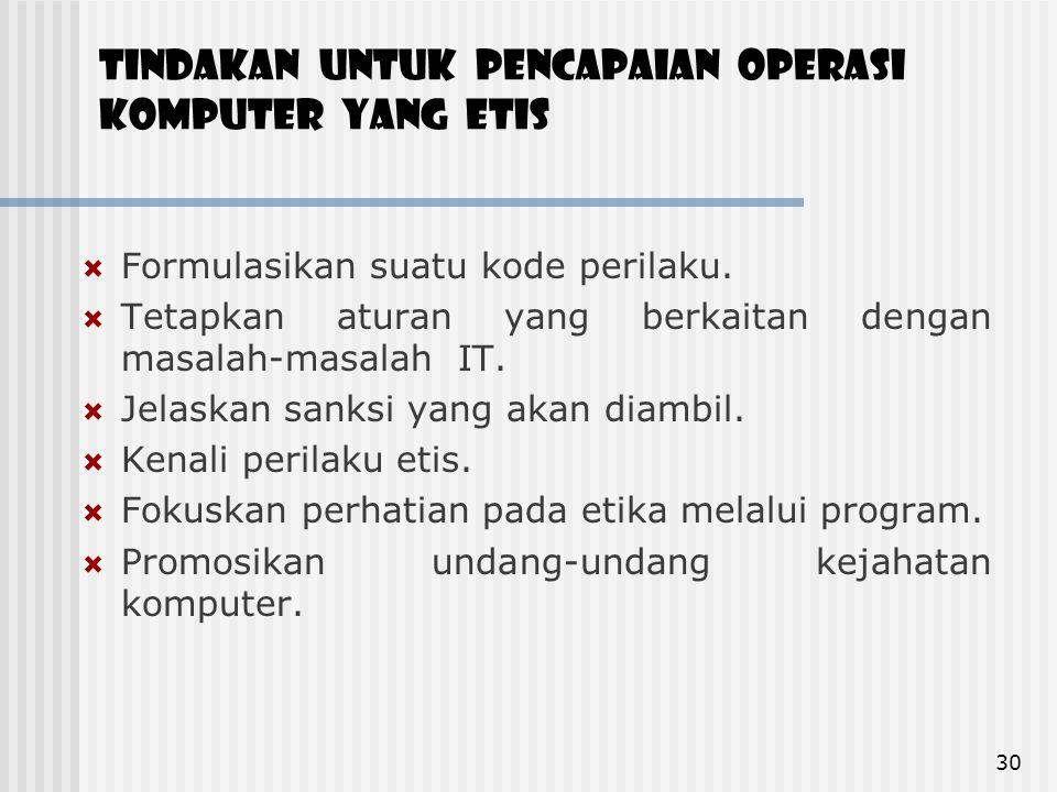 Tindakan untuk pencapaian operasi Komputer yang etis