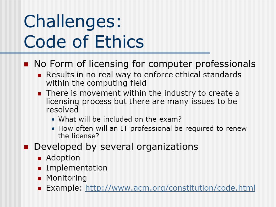 Challenges: Code of Ethics