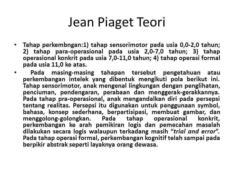 Jean Piaget Teori