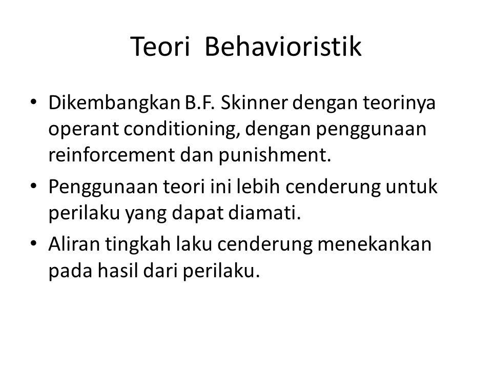 Teori Behavioristik Dikembangkan B.F. Skinner dengan teorinya operant conditioning, dengan penggunaan reinforcement dan punishment.