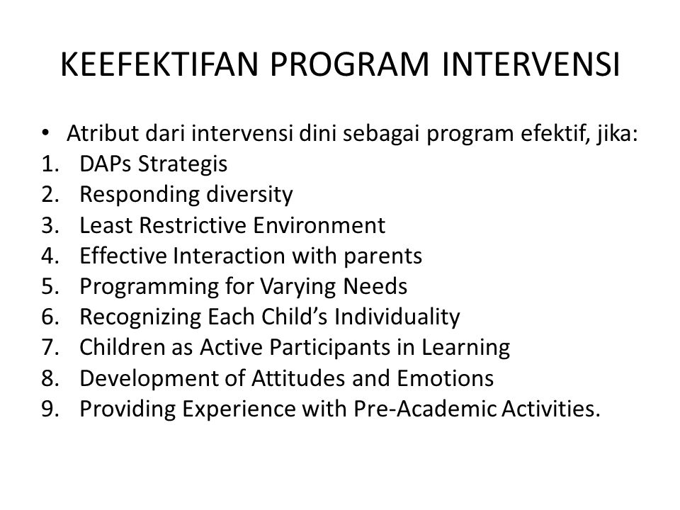 KEEFEKTIFAN PROGRAM INTERVENSI
