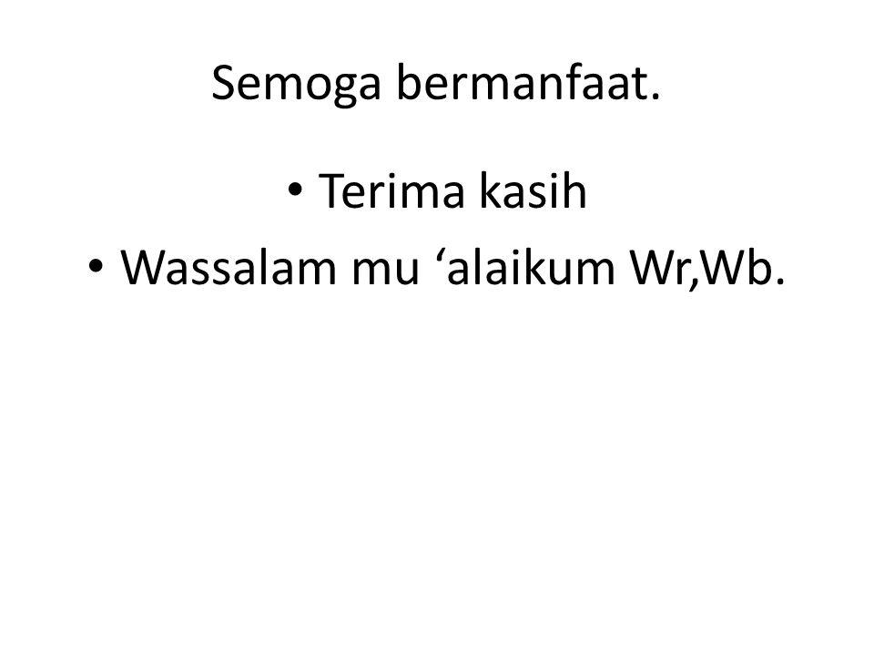Wassalam mu 'alaikum Wr,Wb.