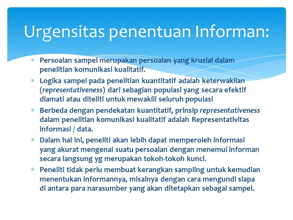 Urgensitas penentuan Informan: