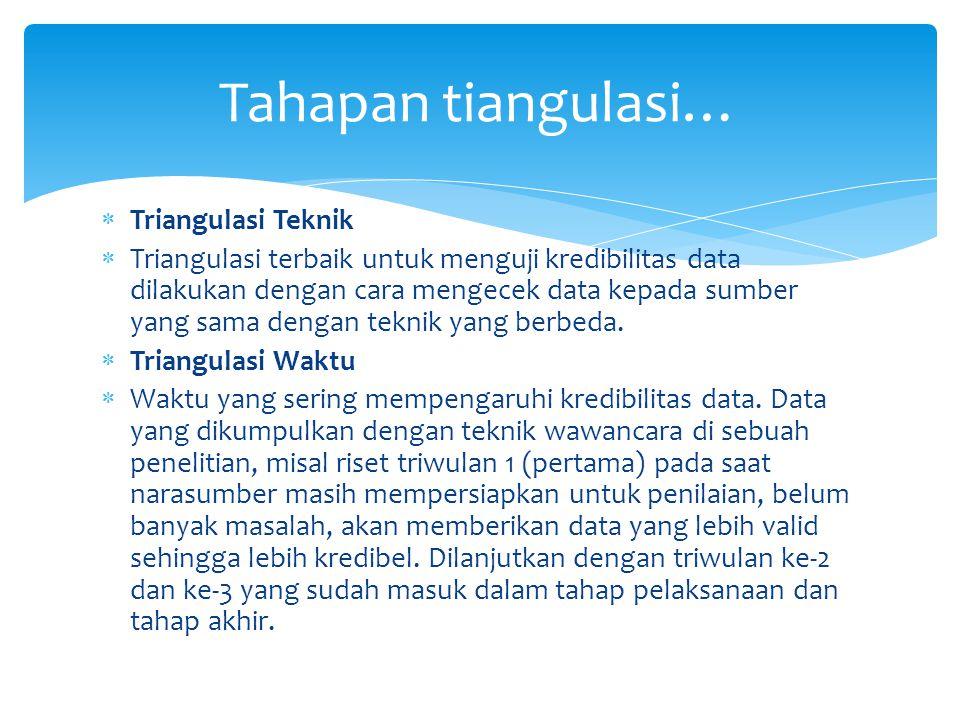 Tahapan tiangulasi… Triangulasi Teknik