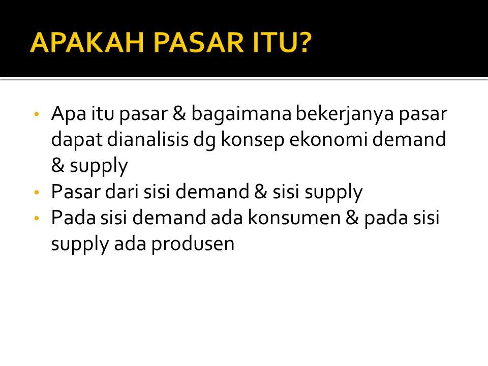 APAKAH PASAR ITU Apa itu pasar & bagaimana bekerjanya pasar dapat dianalisis dg konsep ekonomi demand & supply.