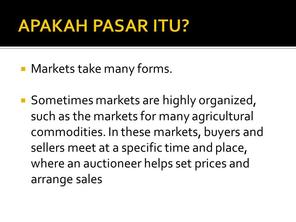APAKAH PASAR ITU Markets take many forms.