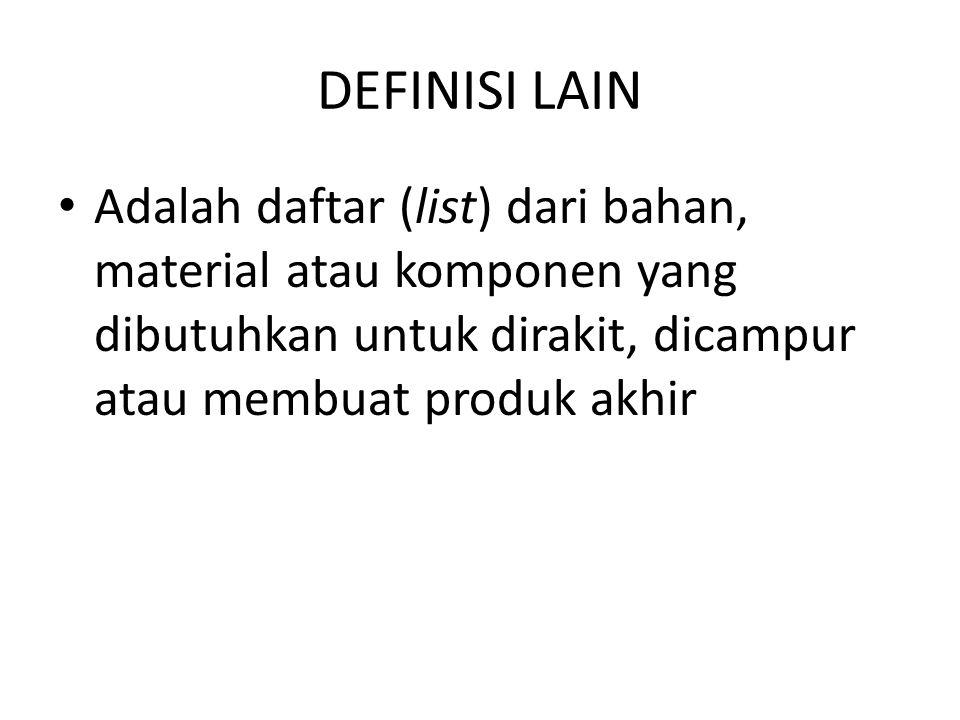 DEFINISI LAIN Adalah daftar (list) dari bahan, material atau komponen yang dibutuhkan untuk dirakit, dicampur atau membuat produk akhir.