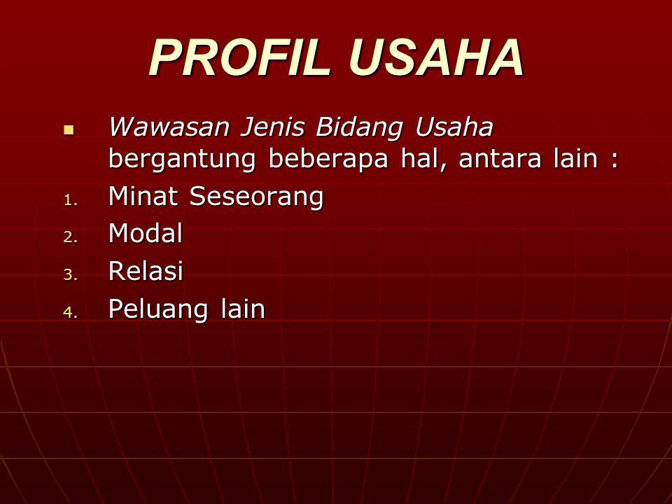 PROFIL USAHA Wawasan Jenis Bidang Usaha bergantung beberapa hal, antara lain : Minat Seseorang. Modal.
