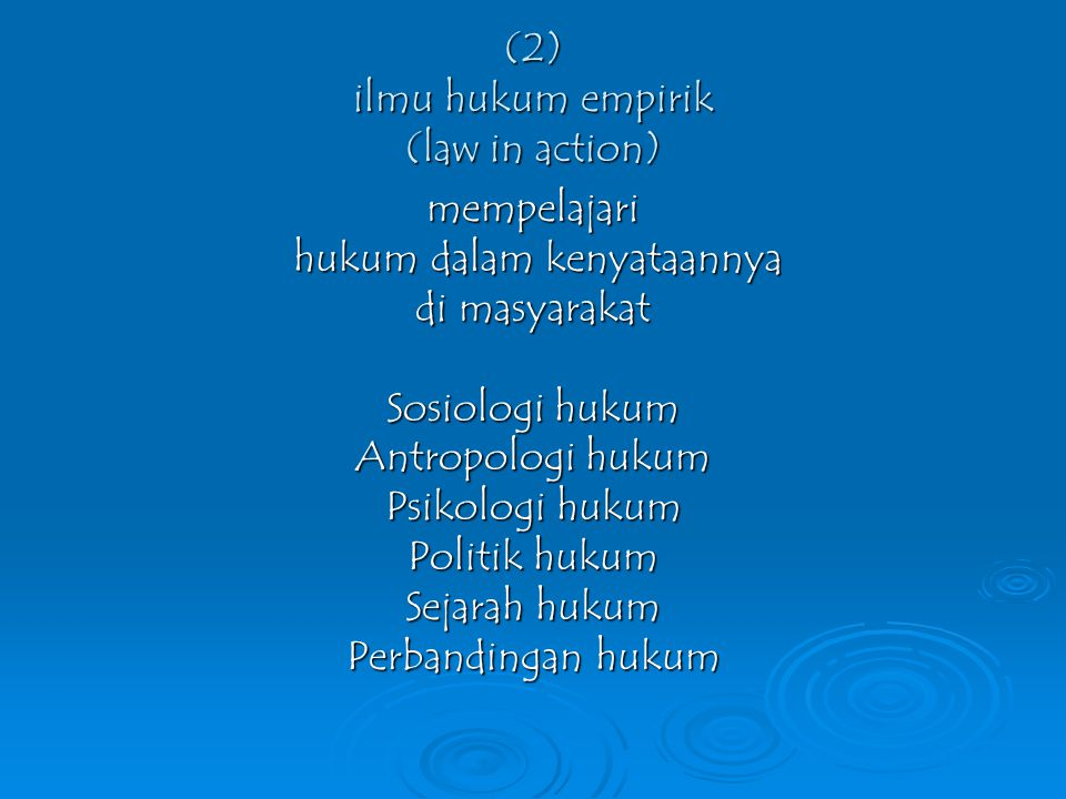 (2) ilmu hukum empirik (law in action)