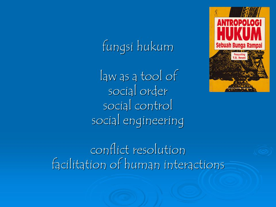 fungsi hukum law as a tool of social order social control social engineering conflict resolution facilitation of human interactions