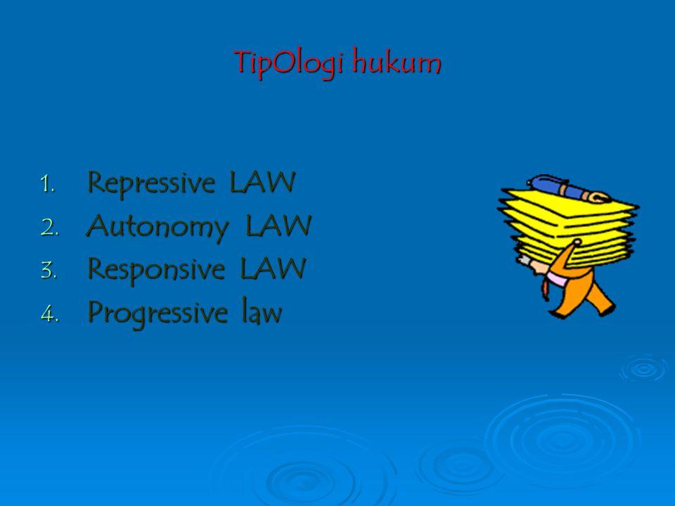 TipOlogi hukum Repressive LAW Autonomy LAW Responsive LAW Progressive law