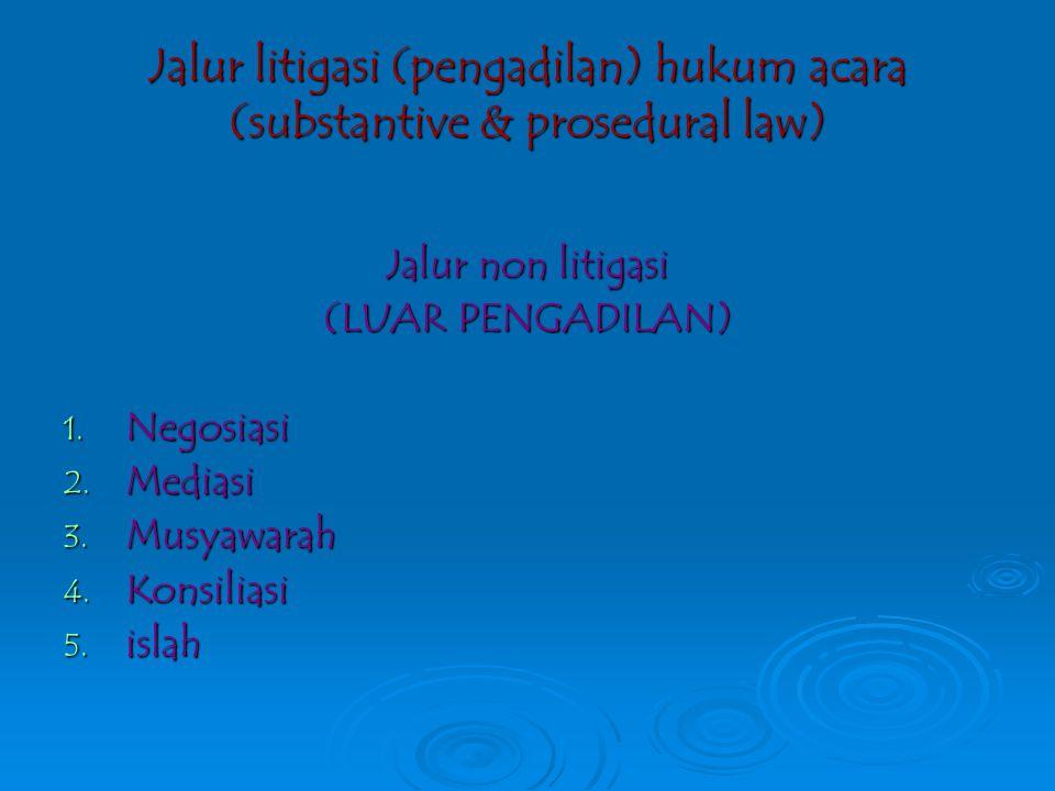 Jalur litigasi (pengadilan) hukum acara (substantive & prosedural law)