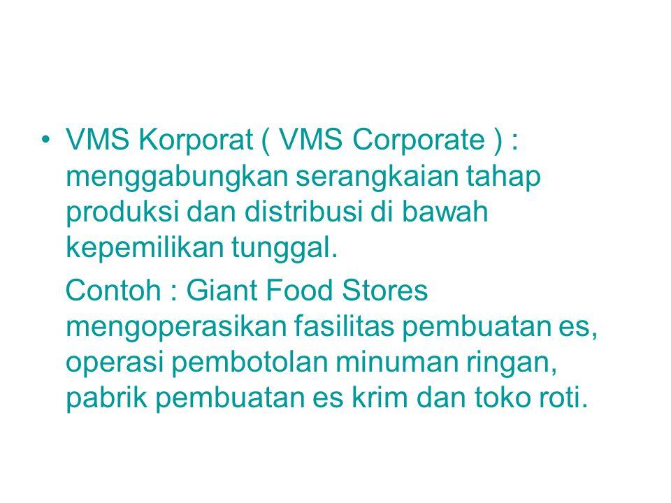 VMS Korporat ( VMS Corporate ) : menggabungkan serangkaian tahap produksi dan distribusi di bawah kepemilikan tunggal.
