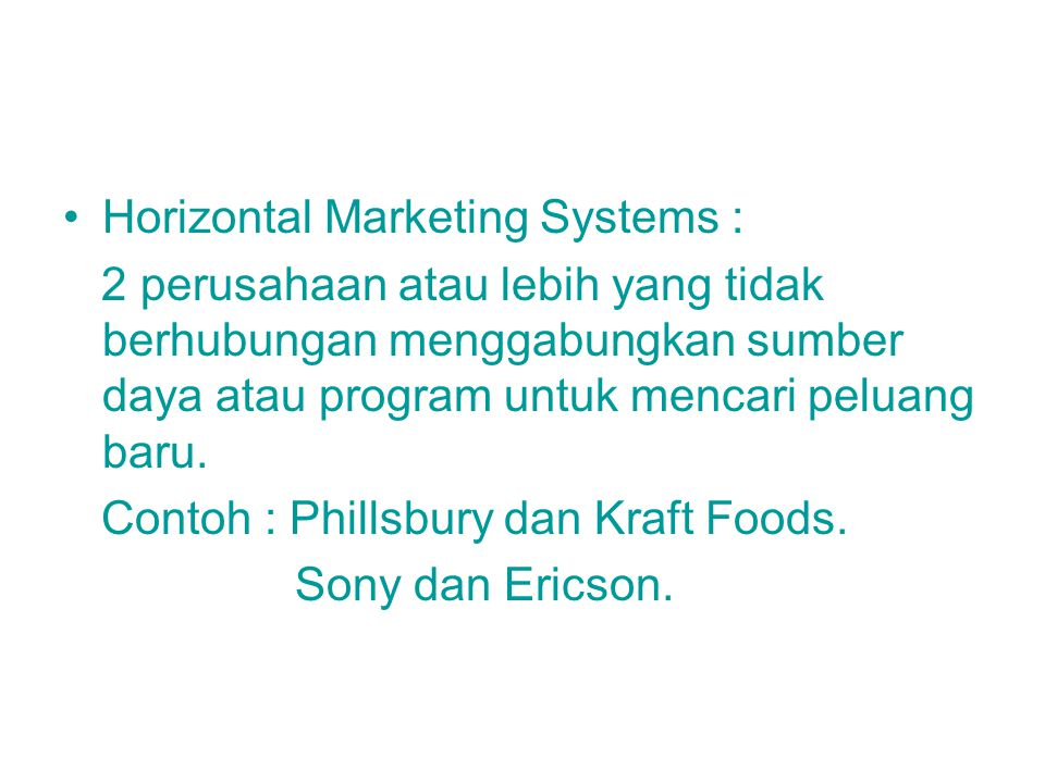 Horizontal Marketing Systems :