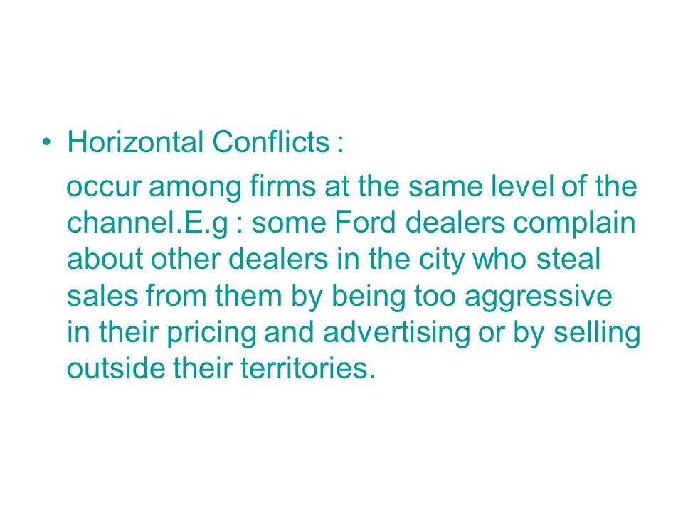 Horizontal Conflicts :
