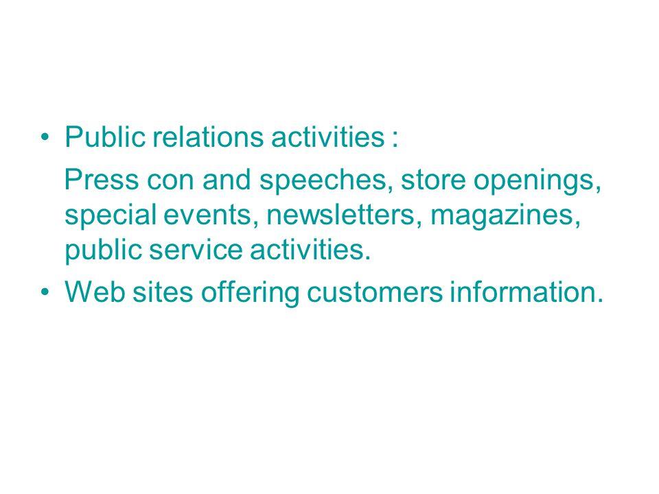 Public relations activities :