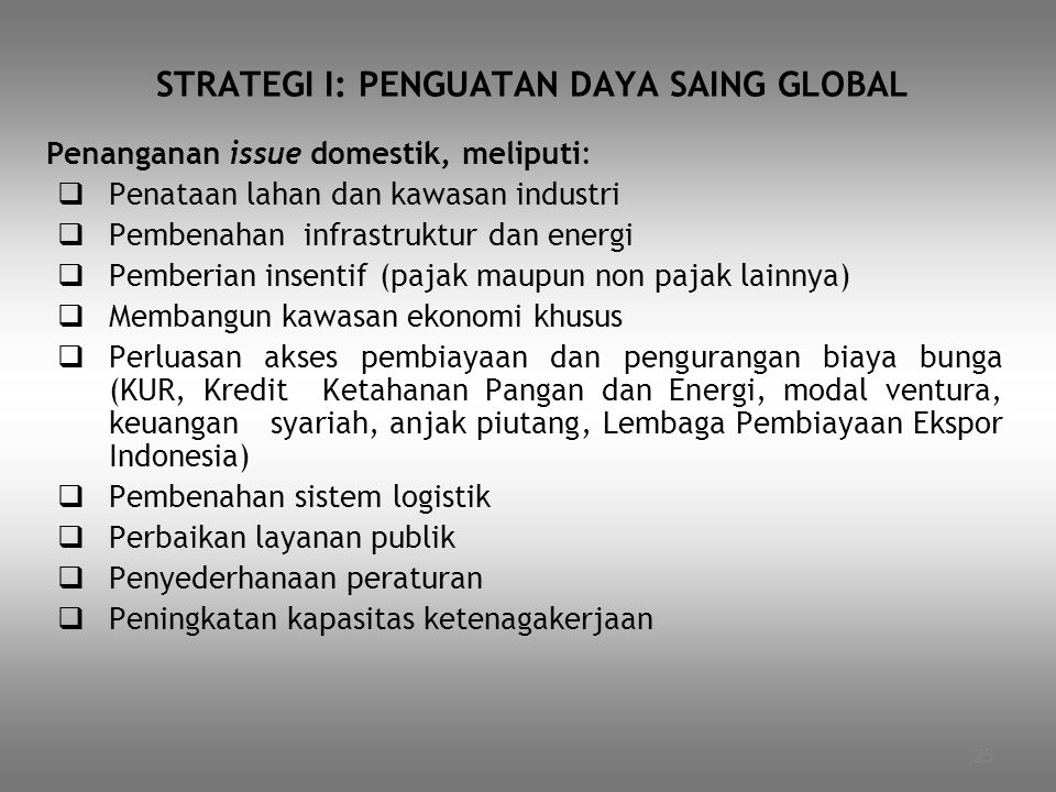 STRATEGI I: PENGUATAN DAYA SAING GLOBAL