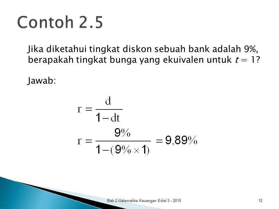 Contoh 2.5 Jika diketahui tingkat diskon sebuah bank adalah 9%, berapakah tingkat bunga yang ekuivalen untuk t = 1