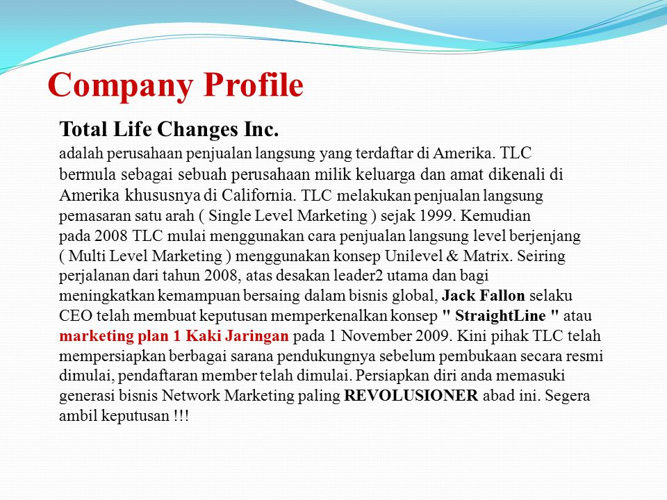 Company Profile Total Life Changes Inc.