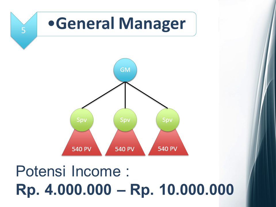 General Manager Potensi Income : Rp. 4.000.000 – Rp. 10.000.000 5 GM