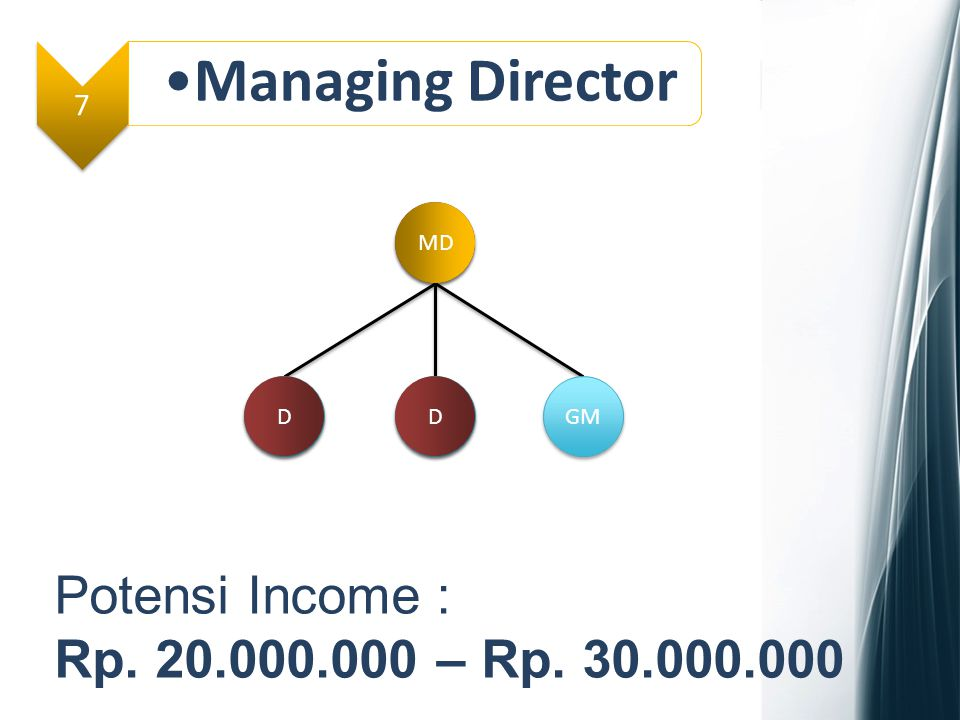 Managing Director Potensi Income : Rp. 20.000.000 – Rp. 30.000.000 7 D
