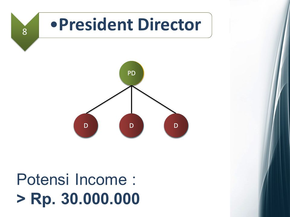 President Director Potensi Income : > Rp. 30.000.000 8 PD MD D GM D