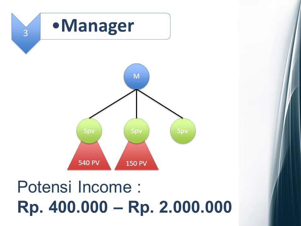 Manager Potensi Income : Rp. 400.000 – Rp. 2.000.000 3 M Spv Spv Spv
