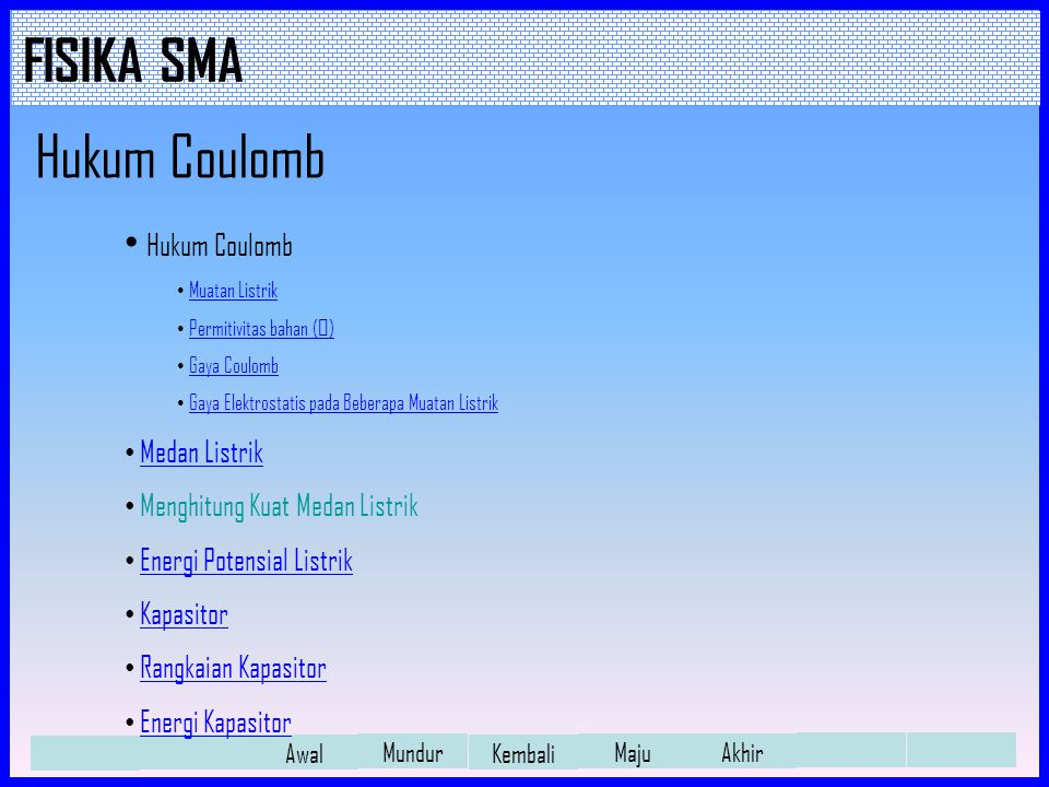 Hukum Coulomb Hukum Coulomb Medan Listrik