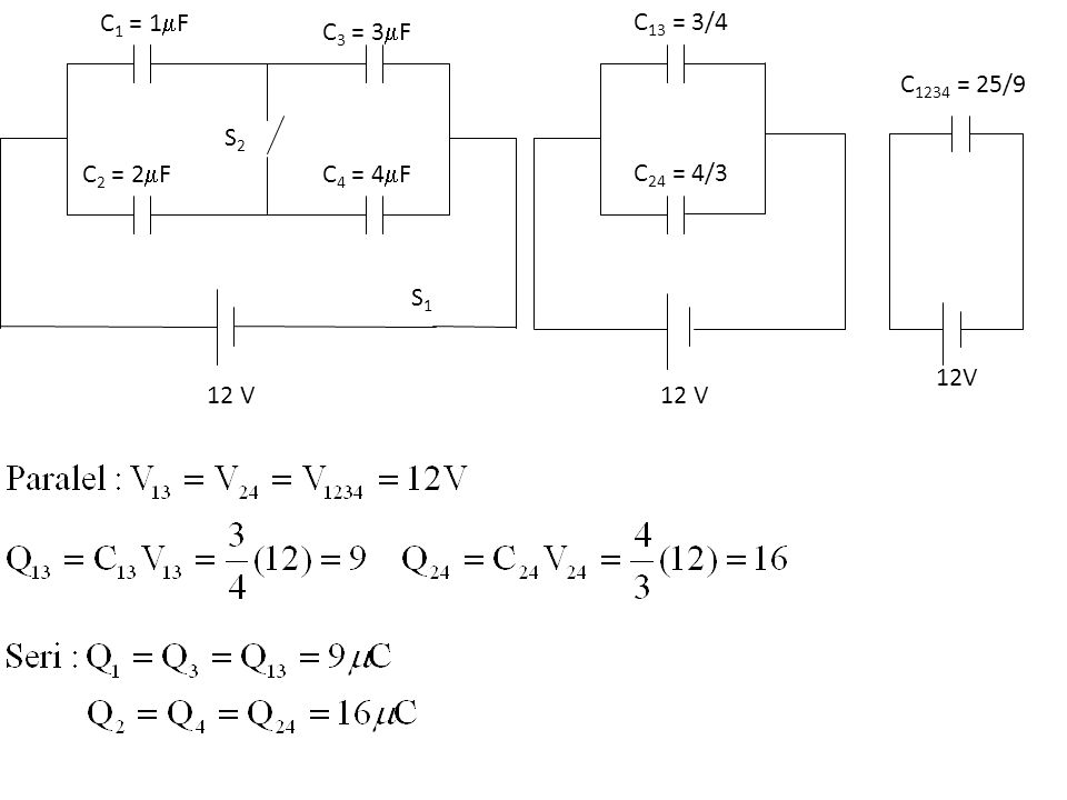 C1 = 1F C2 = 2F C3 = 3F C4 = 4F S1 S2 12 V C13 = 3/4 C24 = 4/3 12 V 12V C1234 = 25/9