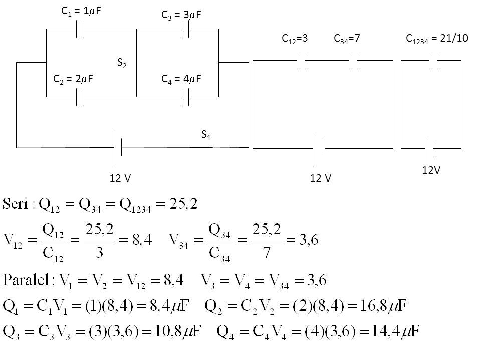 C1 = 1F C2 = 2F C3 = 3F C4 = 4F S1 S2 12 V 12V C1234 = 21/10 C12=3 C34=7
