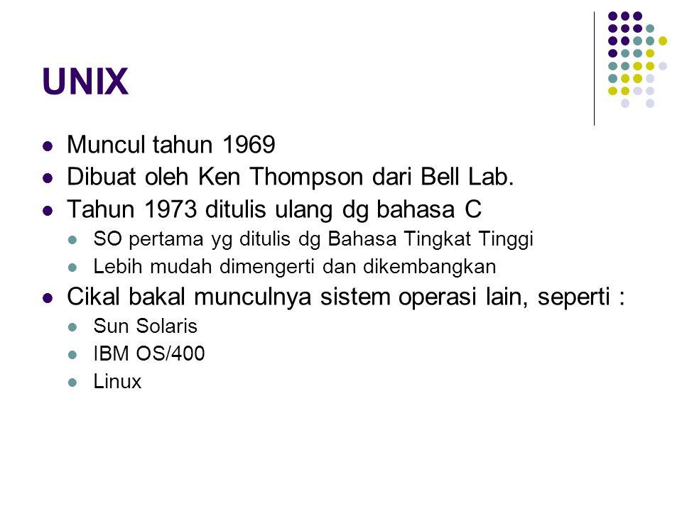 UNIX Muncul tahun 1969 Dibuat oleh Ken Thompson dari Bell Lab.