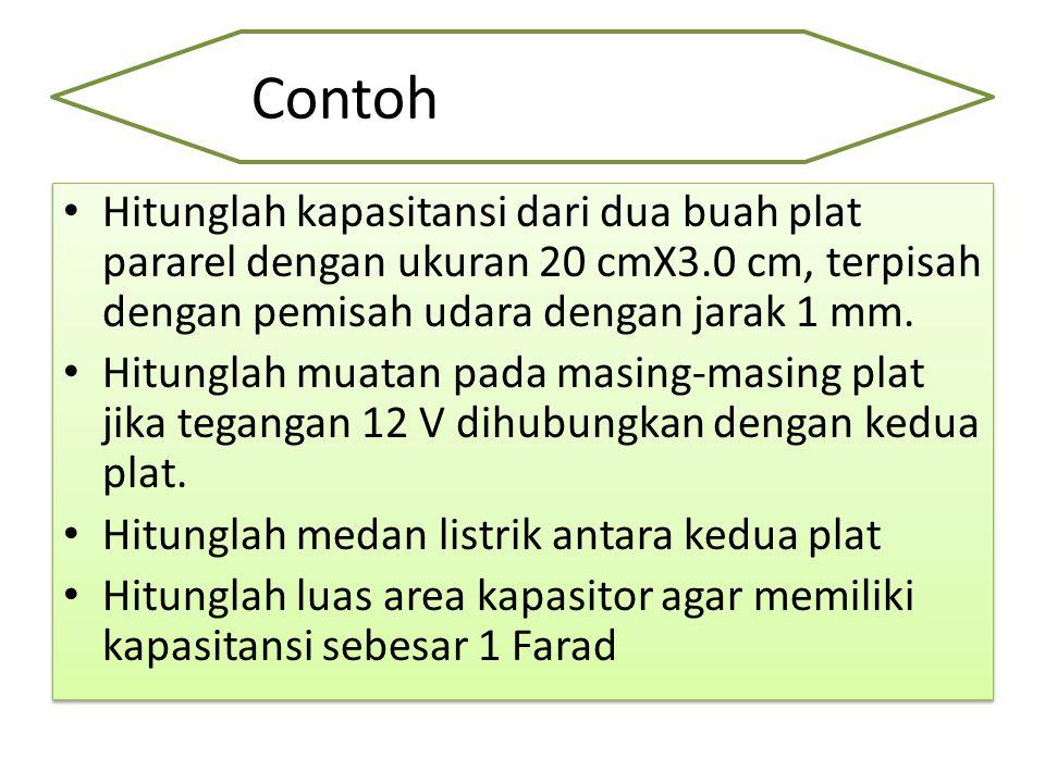 Contoh Hitunglah kapasitansi dari dua buah plat pararel dengan ukuran 20 cmX3.0 cm, terpisah dengan pemisah udara dengan jarak 1 mm.