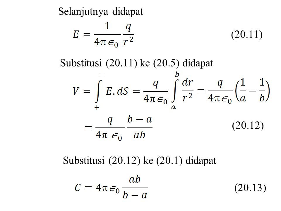 Selanjutnya didapat (20.11) Substitusi (20.11) ke (20.5) didapat. (20.12) Substitusi (20.12) ke (20.1) didapat.