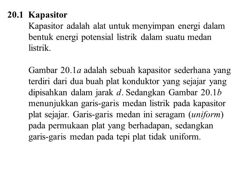 20.1 Kapasitor Kapasitor adalah alat untuk menyimpan energi dalam bentuk energi potensial listrik dalam suatu medan listrik.