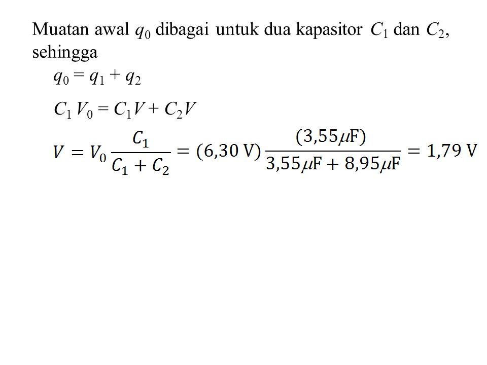 Muatan awal q0 dibagai untuk dua kapasitor C1 dan C2,