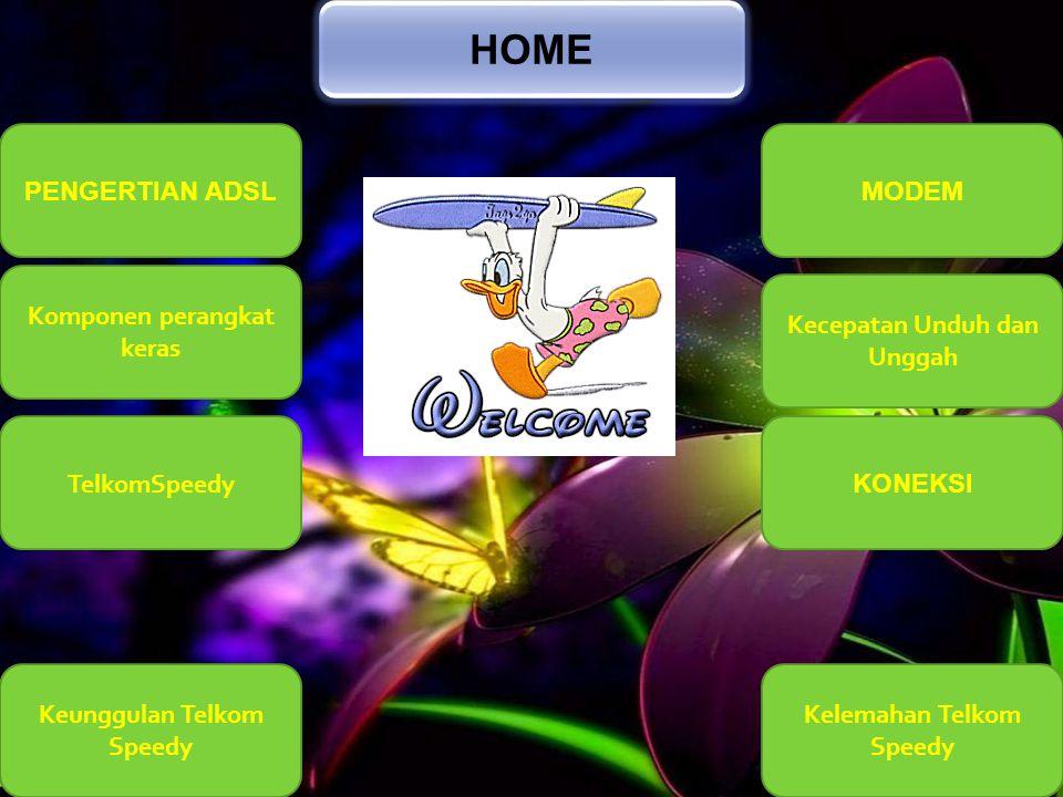 HOME PENGERTIAN ADSL MODEM Komponen perangkat keras