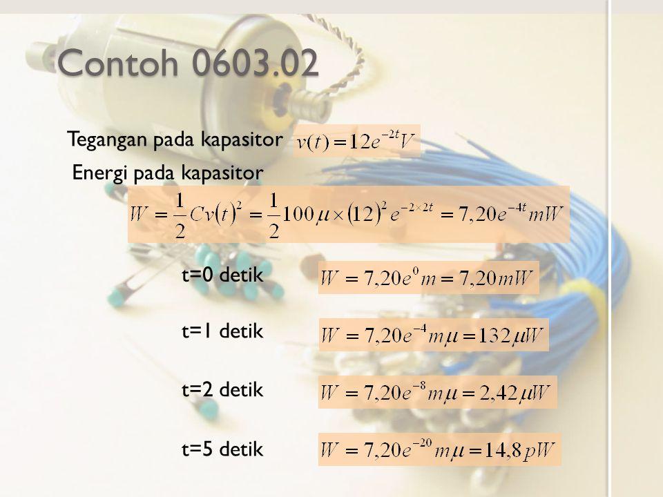 Contoh 0603.02 Tegangan pada kapasitor Energi pada kapasitor t=0 detik